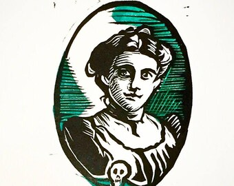 "Victorian Portrait - Multi-Block Linocut Print - GREEN - 5 x 7"""