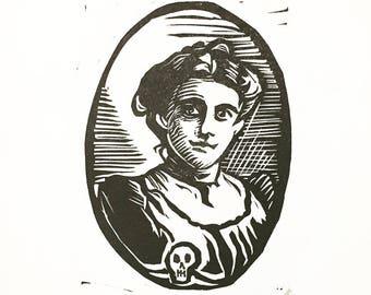 "Victorian Portrait - Original Linocut Print 5 x 7"" ""Memento Mori"""