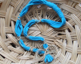 Turquoise Tshirt Necklace , Blue Fabric Upcycled , Jewelry, Tuquise Pendant