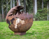 Death Star Steel Fire Pit for Sale, Outdoor Fire Pit Art, Plasma Cut Natural Gas Fire Pit, Large Metal Garden Globe Fire Pit, Fire Ring