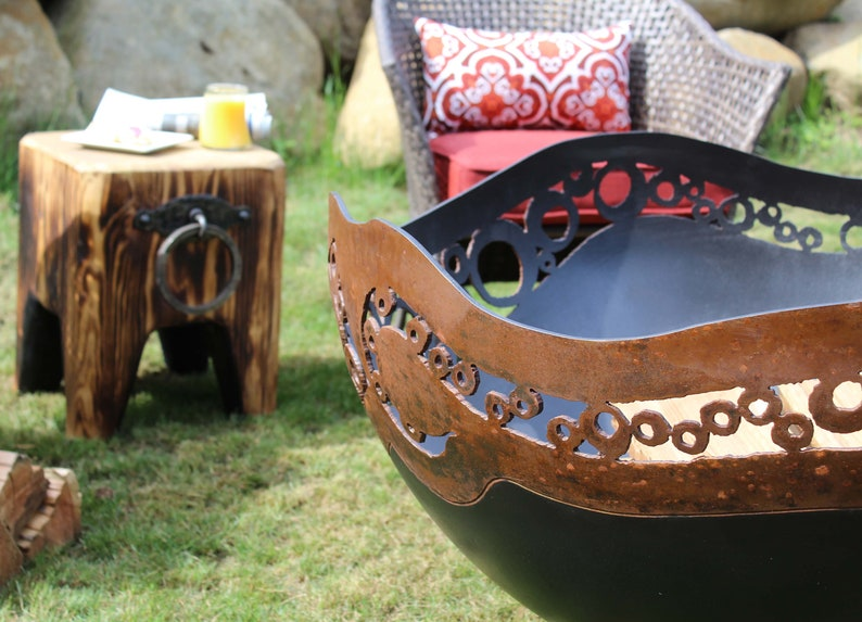 deck or patio Unique perfect addition to your outdoor living space handcrafted Modern Circles Fire Pit backyard plasma cut steel