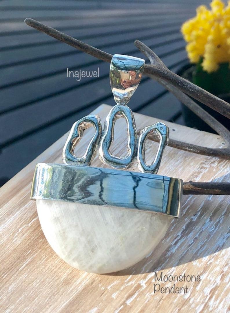 Modern Design. Sterling Silver Moonstone Pendant