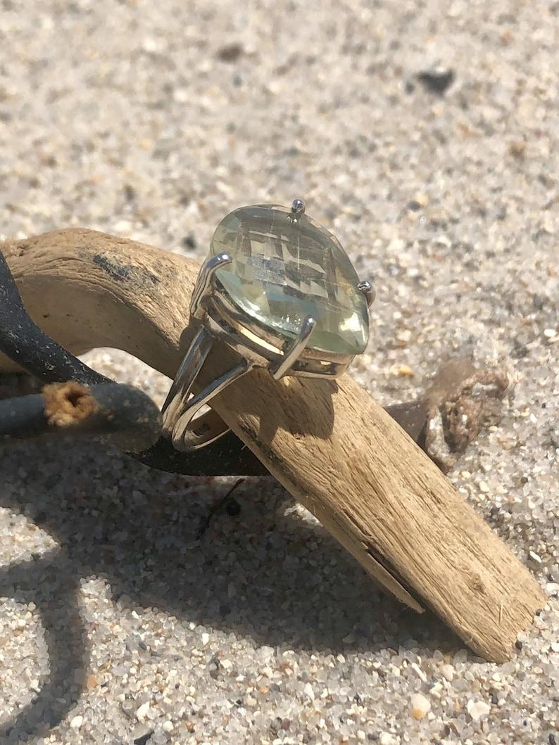 Sterling Silver Green Prasolite Ring