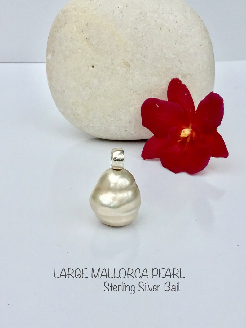 Large Baroque Mallorca Pearl Sterling Silver Handmade Bail.