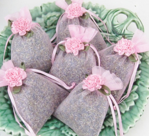 Set of 6 Lavender Sachets made with Gold Organza Bags