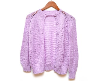 70s Soft Lilac Crochet Cardigan Women's Small Hand Made