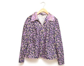 70s Purple Floral Womens Blouse XL Collared Spread V-neck