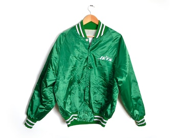 b7e9df82afb 80s NFL New York Jets Satin Bomber Large Jacket Green