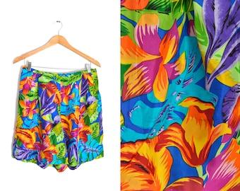 cdadc7053ec08 80s Silk Shorts Size L Womens Palm Tropical Hawaiian