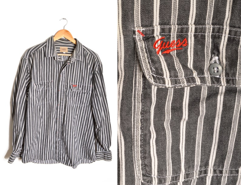 684203fcac 90s Guess Striped Button Down Shirt Mens XL New Western Spirit   Etsy