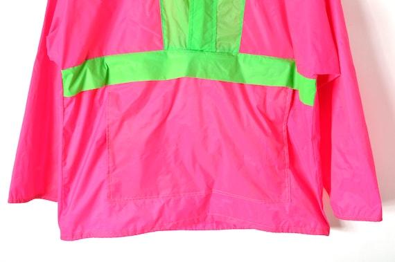 80s Neon Anorak Windbreaker Oversized Pink Green … - image 3