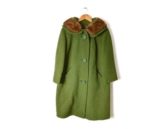 60s Mink Fur Collar Wool Coat Medium Large Jacket