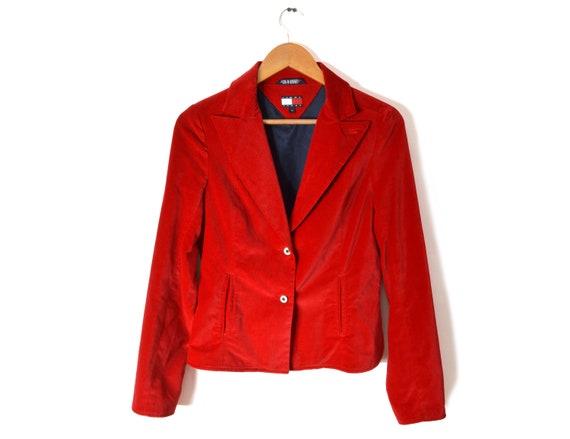 90s Tommy Hilfiger Velvet Blazer Jacket Women's M… - image 1