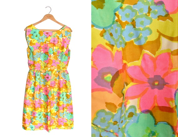 60s Floral Patterned Mini Dress Women's Pastel Flo