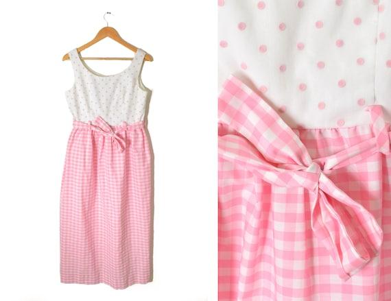 70s Gingham Maxi Dress Medium Pink Polka Dot Belted Tank