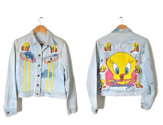 80s Tweety Bird Denim Jacket Distressed Womens Med