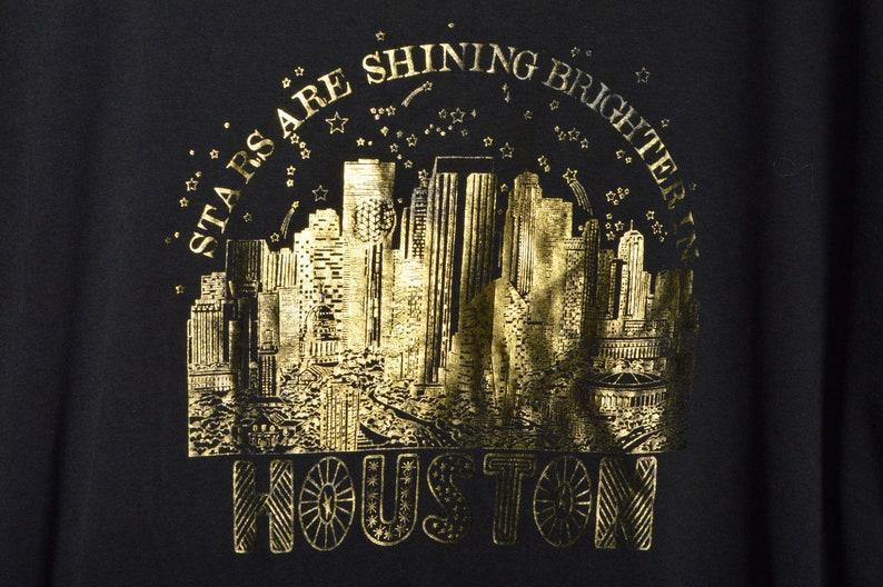 90s Stars Shine Brighter Houston Oversized Shirt XXL Nightgown Black Gold