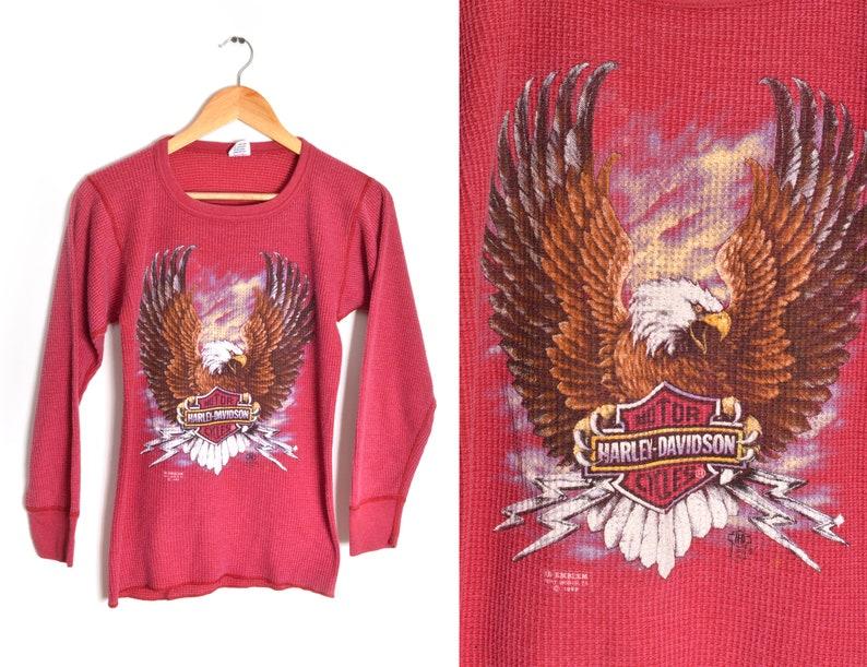 3e43442f2577 80s Harley Davidson 3D Emblem Thermal Long Sleeve Shirt Womens