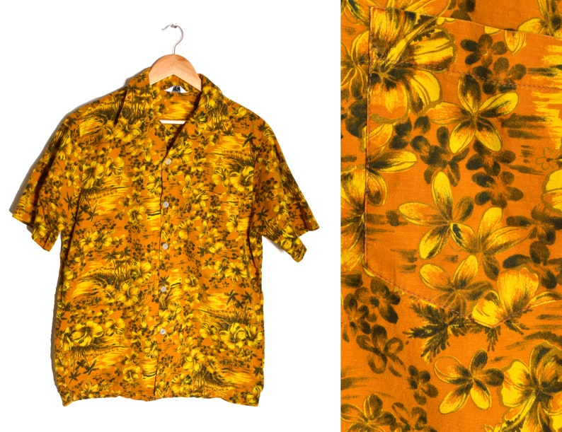 04c56095 70s Hawaiian Button Down Shirt Mens Large Plumeria Palm Tree | Etsy