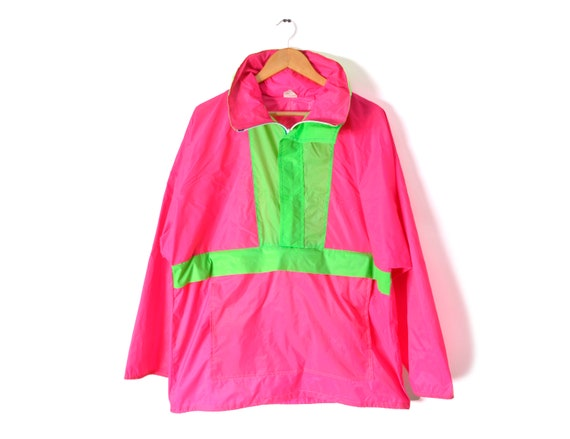 80s Neon Anorak Windbreaker Oversized Pink Green … - image 1