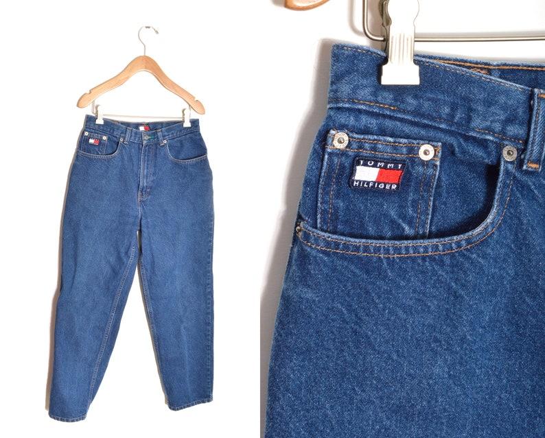 3cbafa0d 90s Tommy Hilfiger Mom Jeans 28 Waist Flag Medium Wash   Etsy