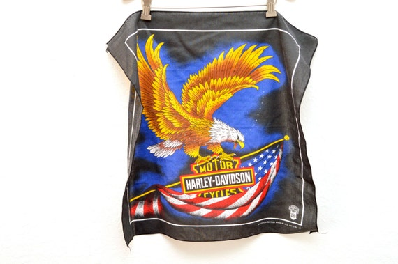 1980s Harley Davidson Bandana  80s Orange Bald Eagle Graphic Bandana  Made in USA
