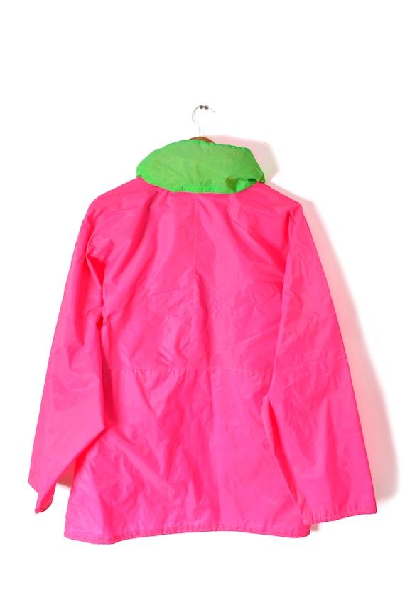 80s Neon Anorak Windbreaker Oversized Pink Green … - image 6