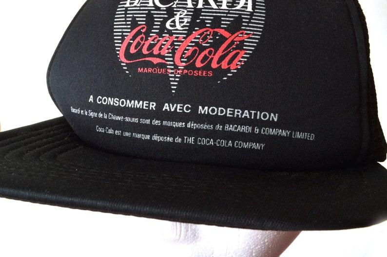 7056b2a99 80s Bacardi Coca Cola Snapback Trucker Hat Mesh Black OSFA Rum and Coke