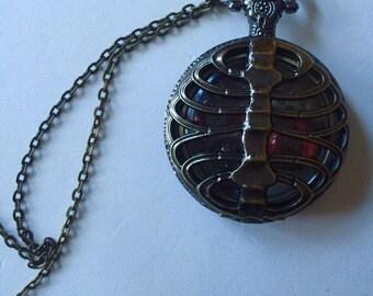 Heart of death steampunk pocket watch pendant