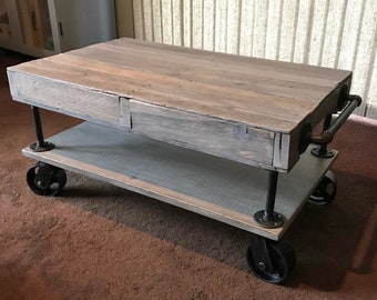 Industrial Railroad Coffee Table Cart With Shelf