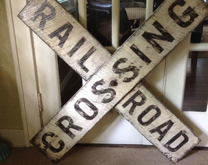 Vintage Distressed RailRoad Crossing Sign