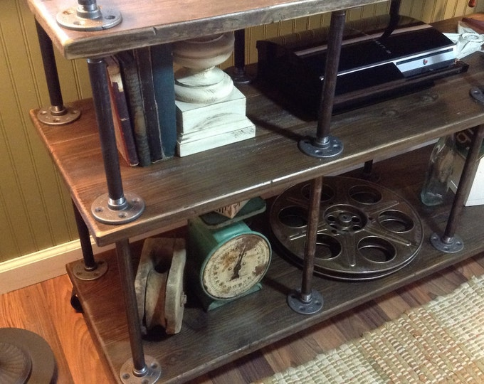 "Industrial TV Stand, Iron and Wood, for 40"" to 46"" TVs"