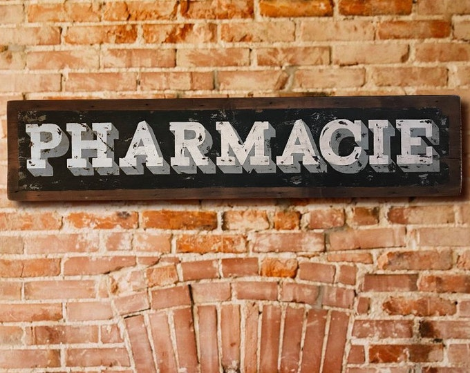 Pharmacie Sign, Hand Painted, French