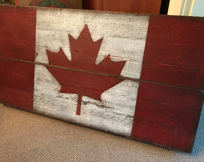 Rustic Canadian Flag Sign, Wood/Hand-Painted
