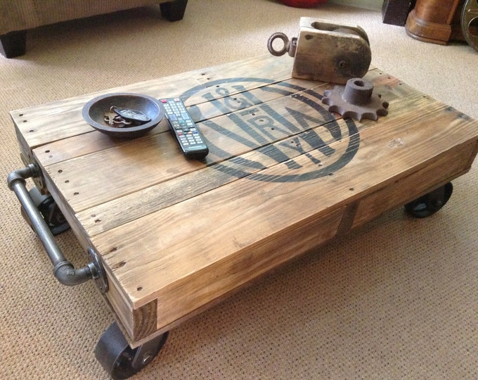 Industrial Railroad Coffee Table Cart, Norfolk & Western
