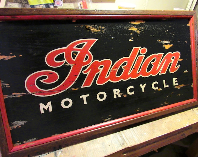 Vintage Motorcycle Sign, Hand-Painted