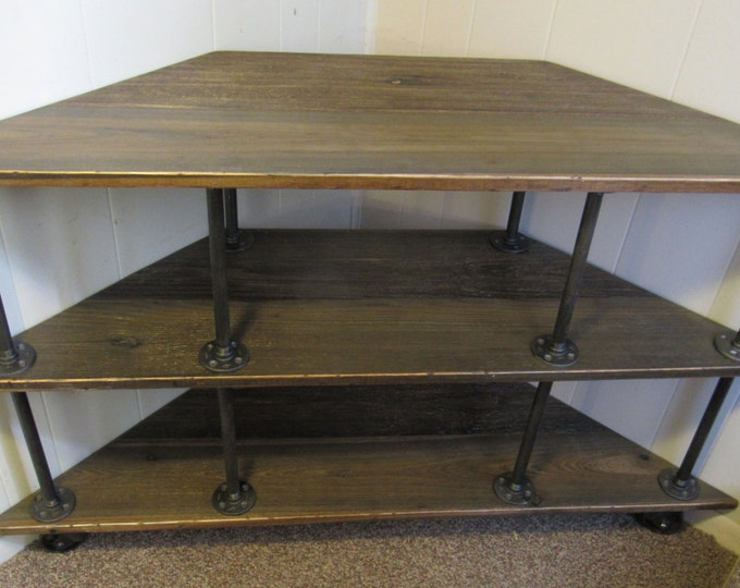 """Corner TV Stand, Industrial, Iron and Wood, for 46"""" to 52"""" TVs"""