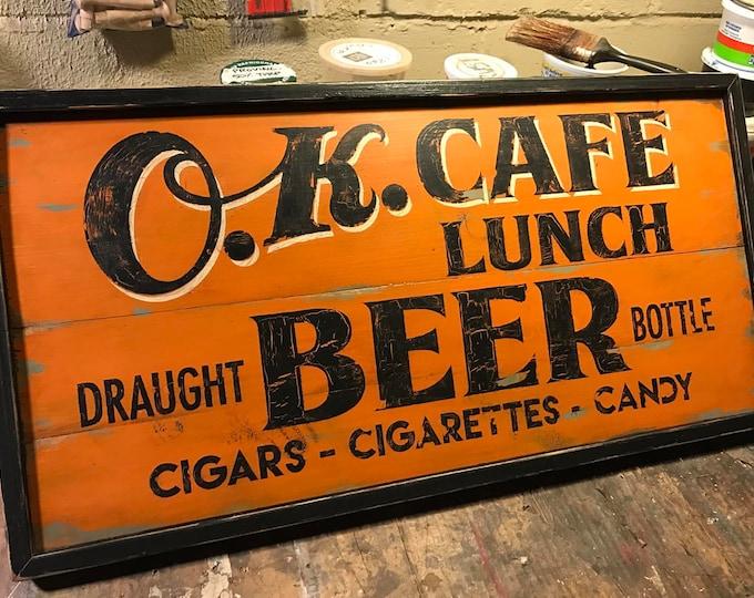Retro OK Cafe Sign, Hand Painted