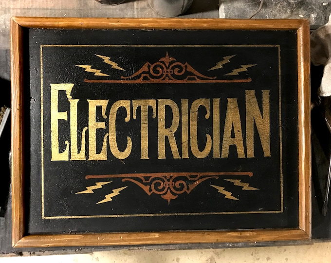 Vintage Hand-Painted Electrician Sign