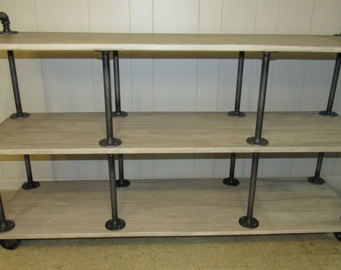 """Industrial TV Stand, White-washed, Iron and Wood for 46"""" to 52"""" TVs"""