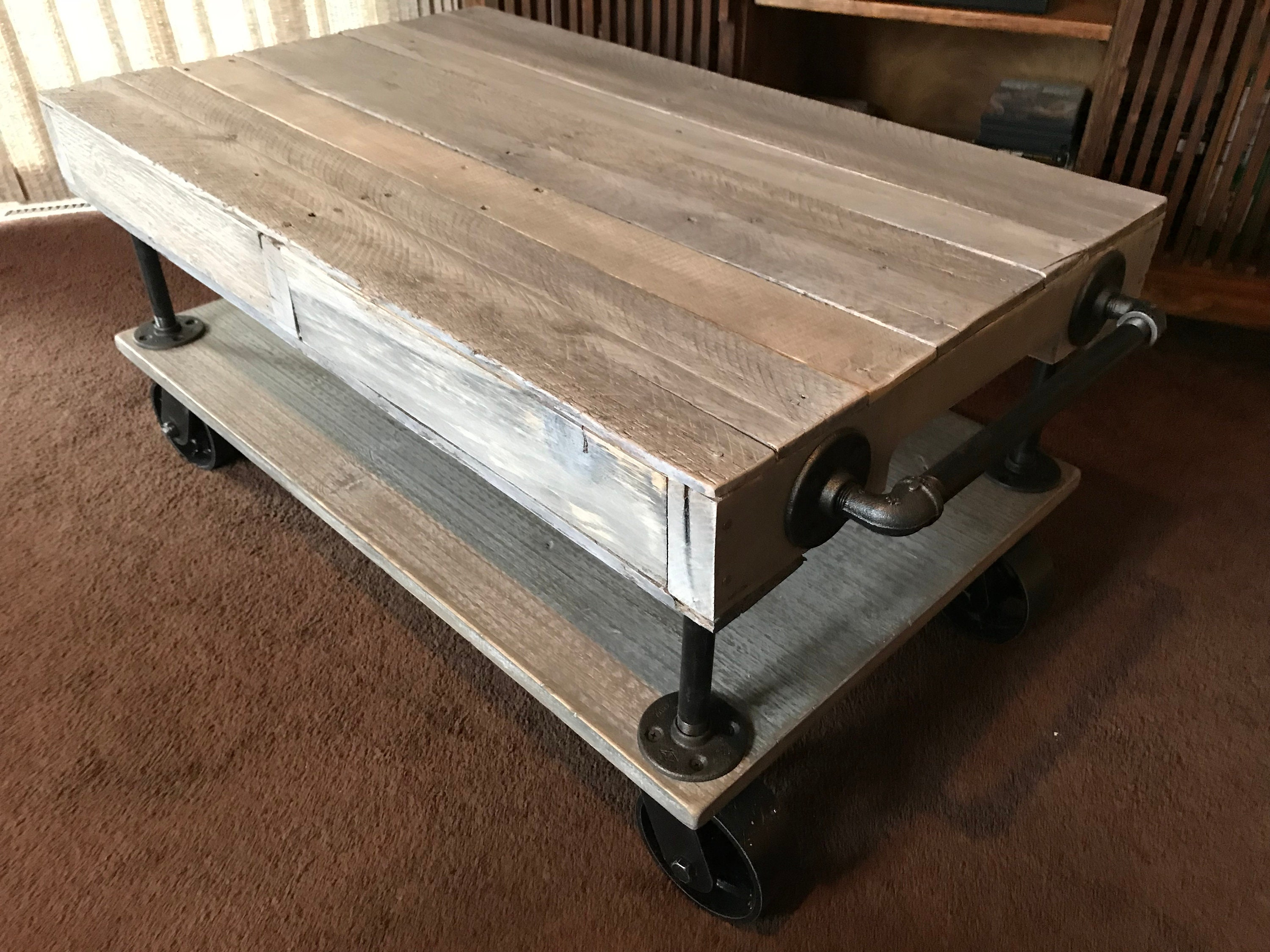 Industrial Railroad Coffee Table Cart With Shelf. Gallery Photo Gallery  Photo Gallery Photo ...