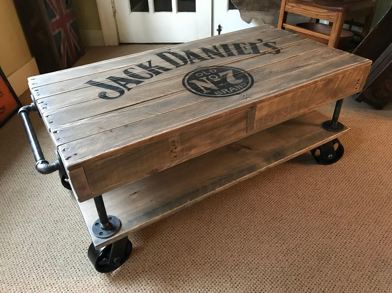 Jack Daniels Industrial Railroad Coffee Table Cart With Shelf