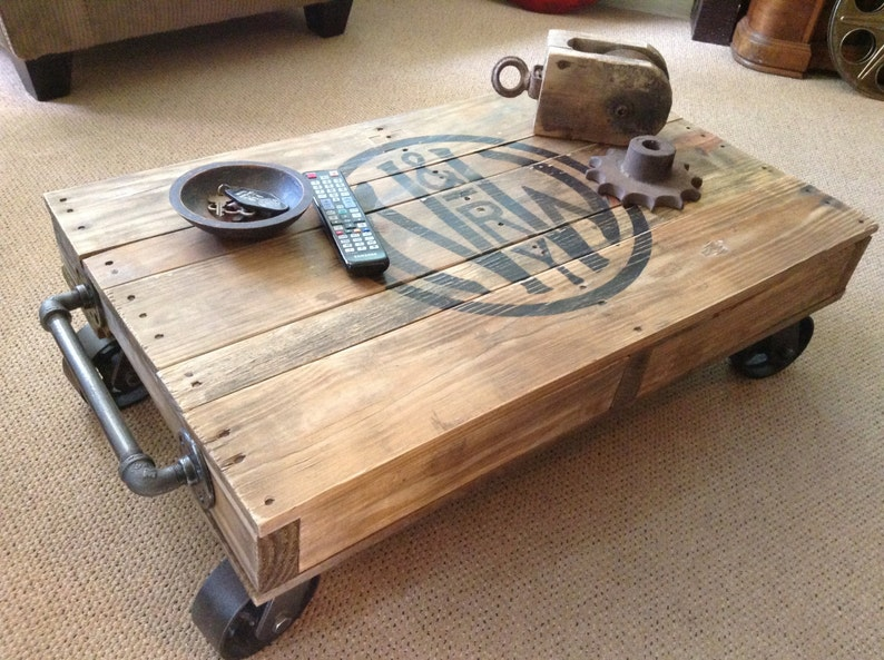 Attirant Industrial Railroad Coffee Table Cart, Norfolk U0026 Western