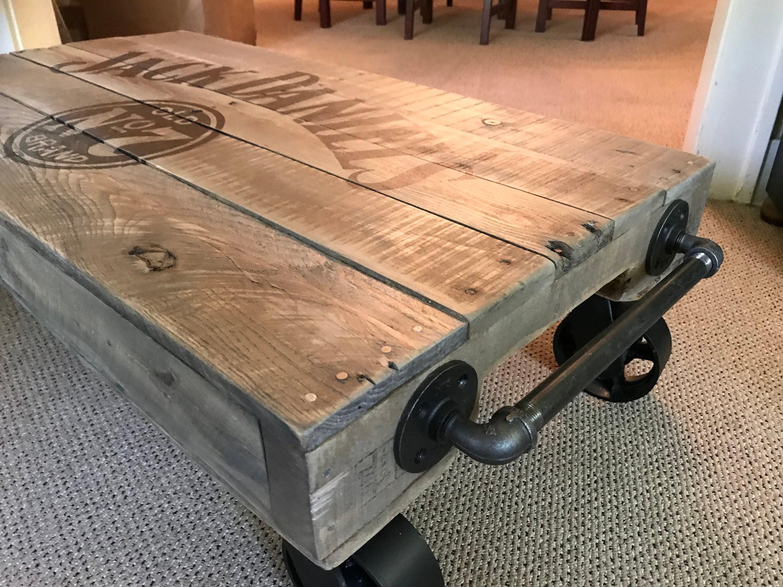 Admirable Jack Daniels Industrial Railroad Coffee Table Cart Interior Design Ideas Tzicisoteloinfo