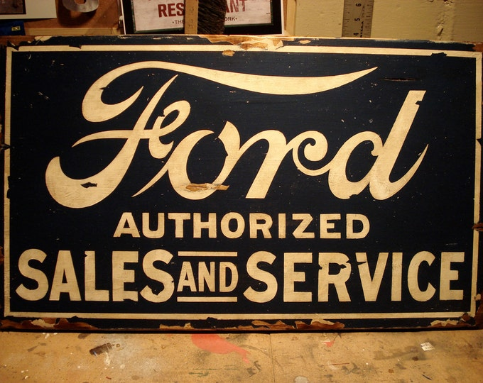 Auto Service Sign, Vintage, Hand-Painted Sign