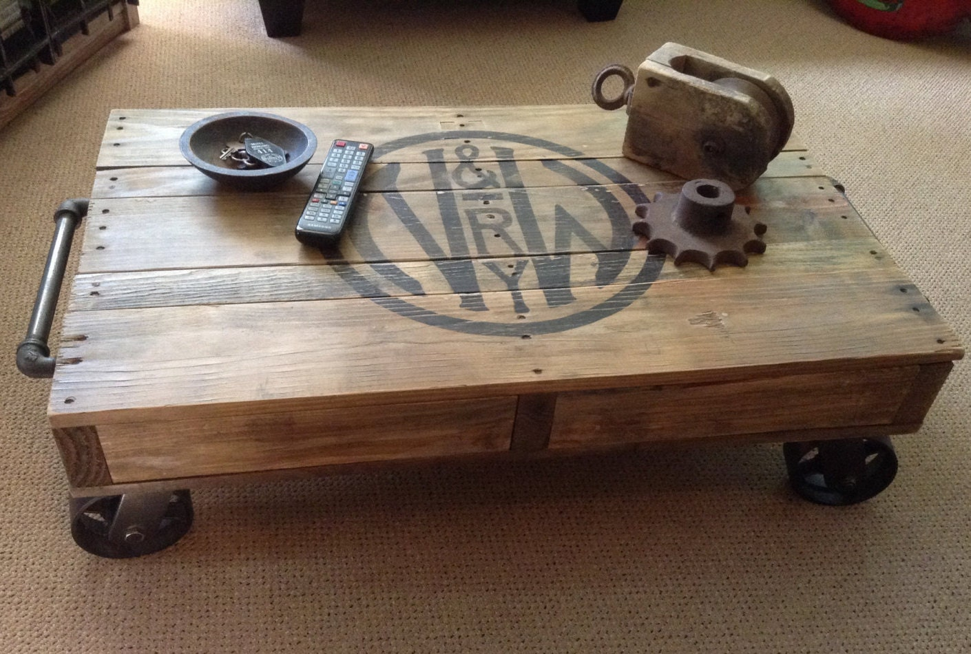 Industrial Railroad Coffee Table Cart. Gallery Photo Gallery Photo Gallery  Photo Gallery Photo ...