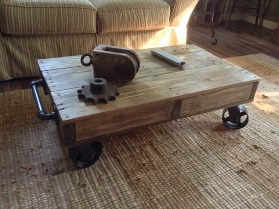 Swell Industrial Railroad Coffee Table Cart Norfolk Western Ocoug Best Dining Table And Chair Ideas Images Ocougorg