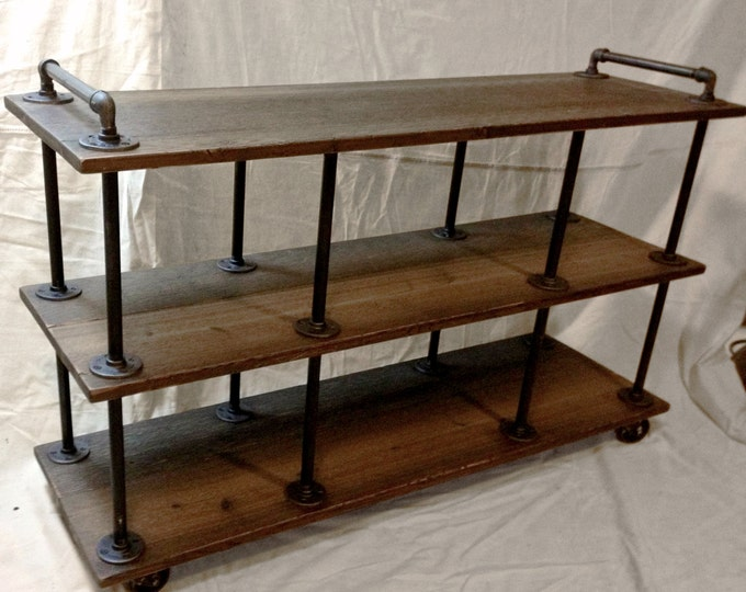 """Industrial TV Stand, Iron and Wood, for 46"""" to 52"""" TVs"""
