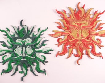Embroidered Green Man/Sun God Motif/Applique/Patch - Pagan Wiccan Goth Celtic