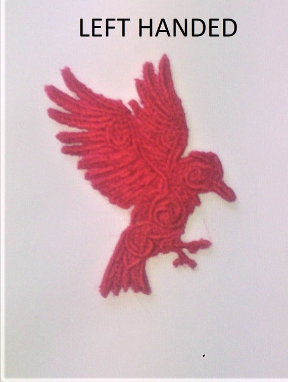 Crow Motif//Patch//Applique Mini Embroidered Baroque Tattoo style Raven